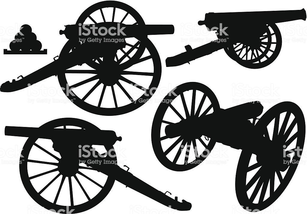 Cannon Silhouettes Stock Illustration.