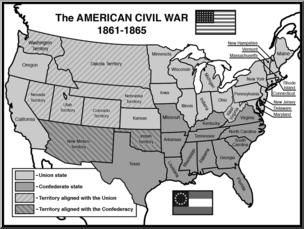 Clip Art: United States History: Civil War States Grayscale I.
