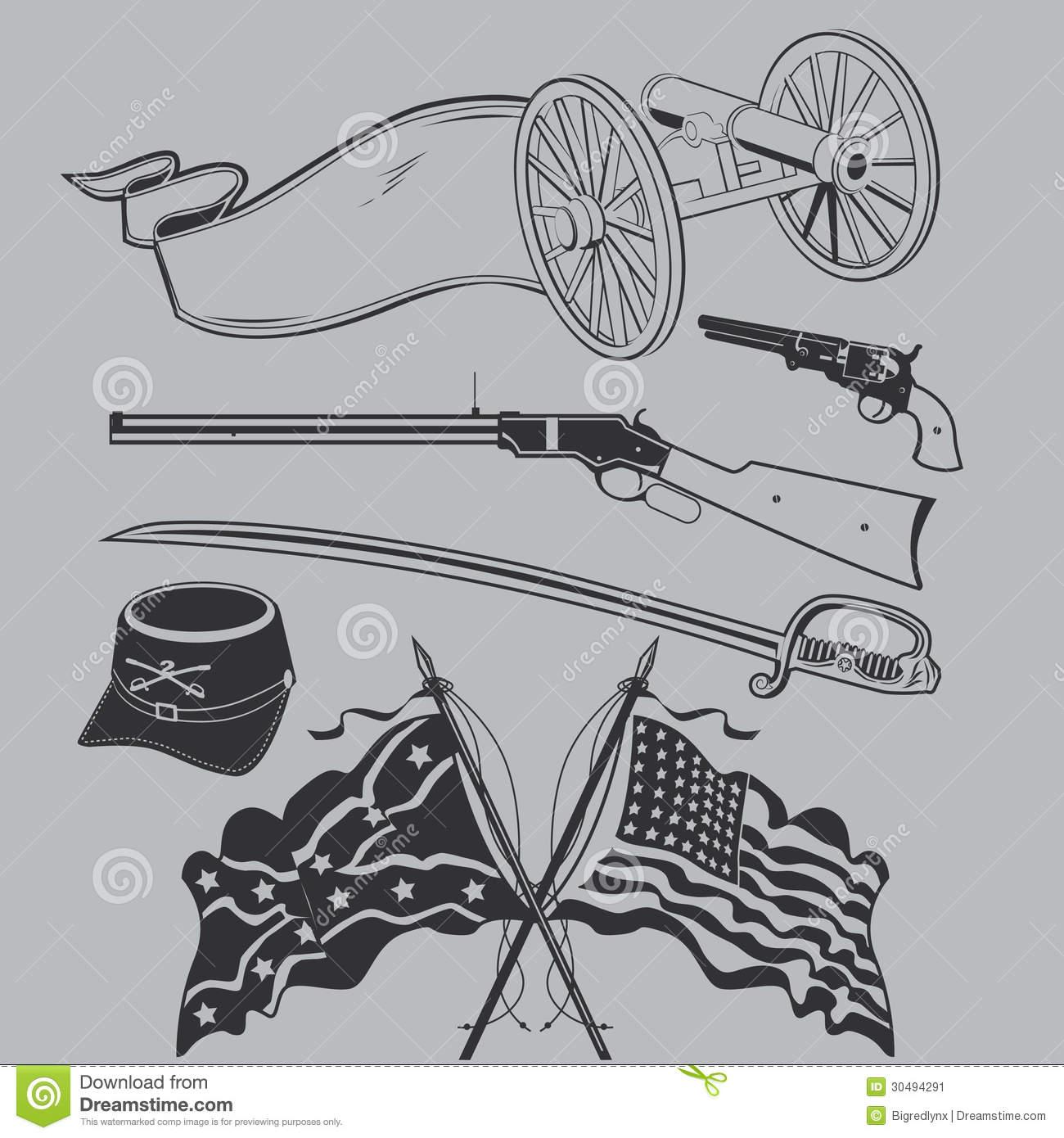 Civil War Clip Art Collection Stock Vector.