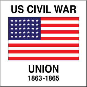 Clip Art: Flags: Civil War Union 35 Star Flag Color I abcteach.com.