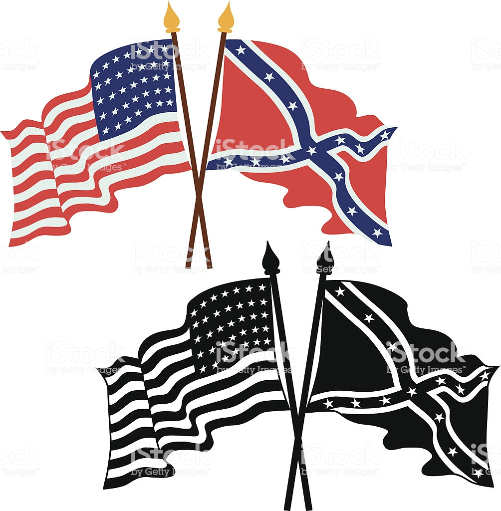 American Civil War Flags Stock Illustration.