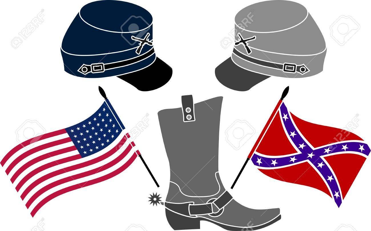 american civil war stencil third variant vector illustration.