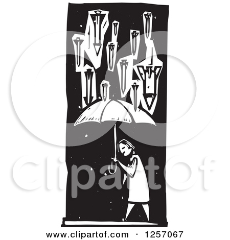 Clipart of a Black and White Woodcut Civilian and Missiles Bombing.