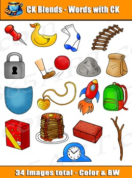 Word Blends: 36 CK Digraph Blends Clipart Graphics.