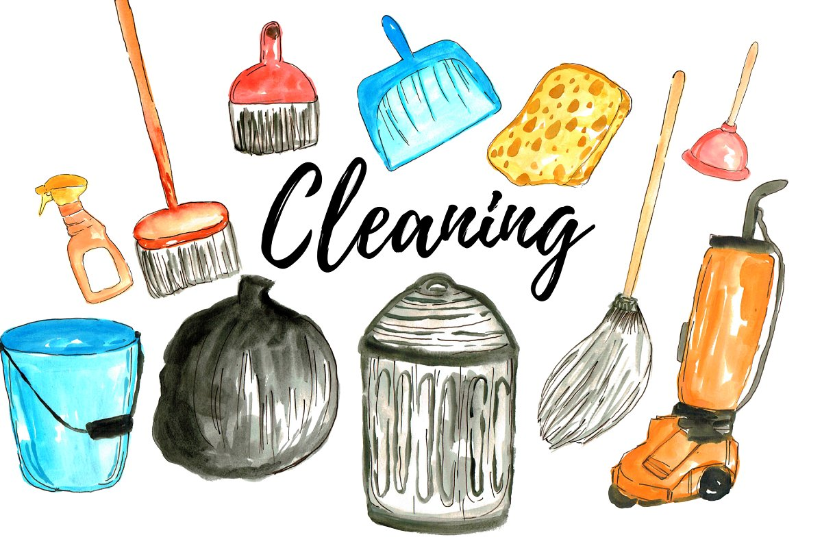 Watercolor Cleaning Clipart.
