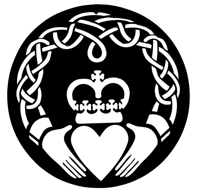 Bellaa 21772 Celtic Claddagh Metal Wall Art Irish Symbol Love Friendship  Loyalty 24 inch.