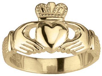 Ladies 14K Yellow Gold Silver Claddagh Ring.