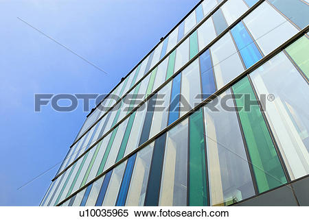 Stock Image of Abstract detail of office building with tinted.