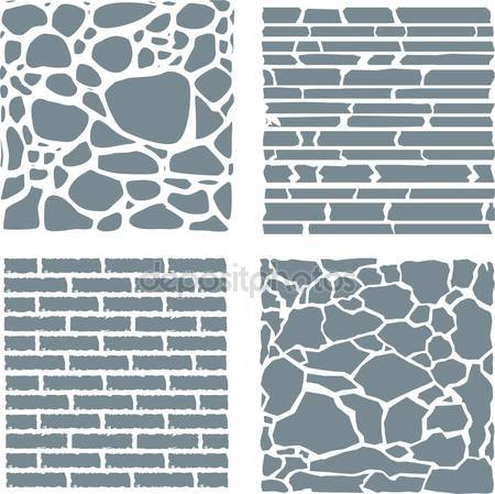 Stone and brick cladding. Vector texture set. — Stock Vector.