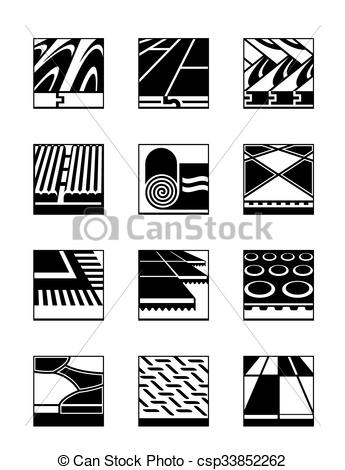 Clip Art Vector of Floor coverings and cladding.