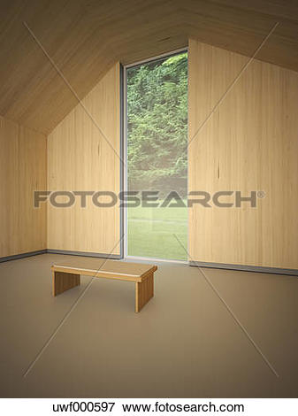 Stock Illustration of Empty room with wooden wall cladding and a.