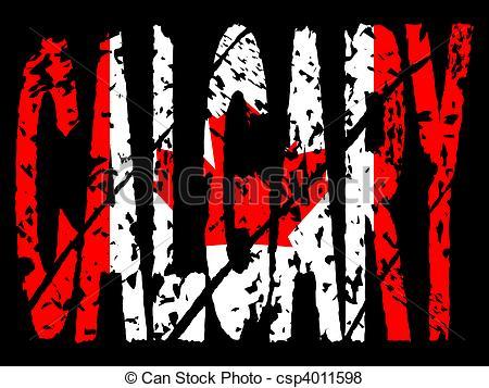 Stock Illustration of grunge Calgary with Canadian flag.