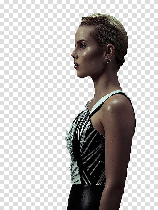 Claire Holt, woman wearing black and white top transparent.