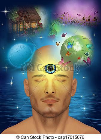 Stock Illustrations of Third eye, clairvoyant csp17015676.