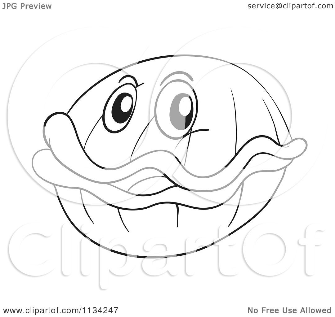 Cartoon Of A Black And White Clam.