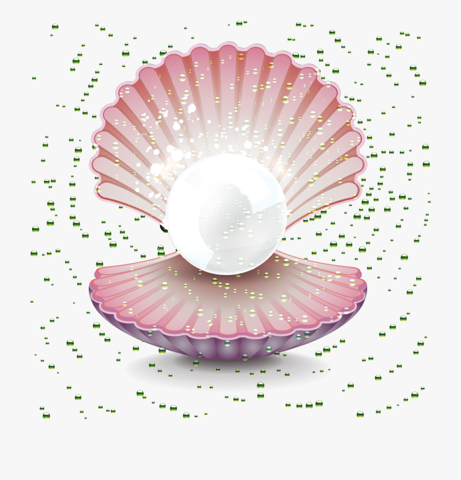 Pearl Gemstone Clip Art Shell.