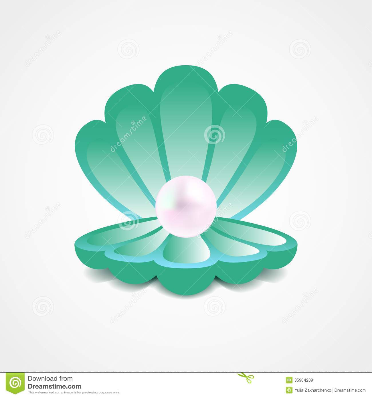Shell With Pearl Clipart.