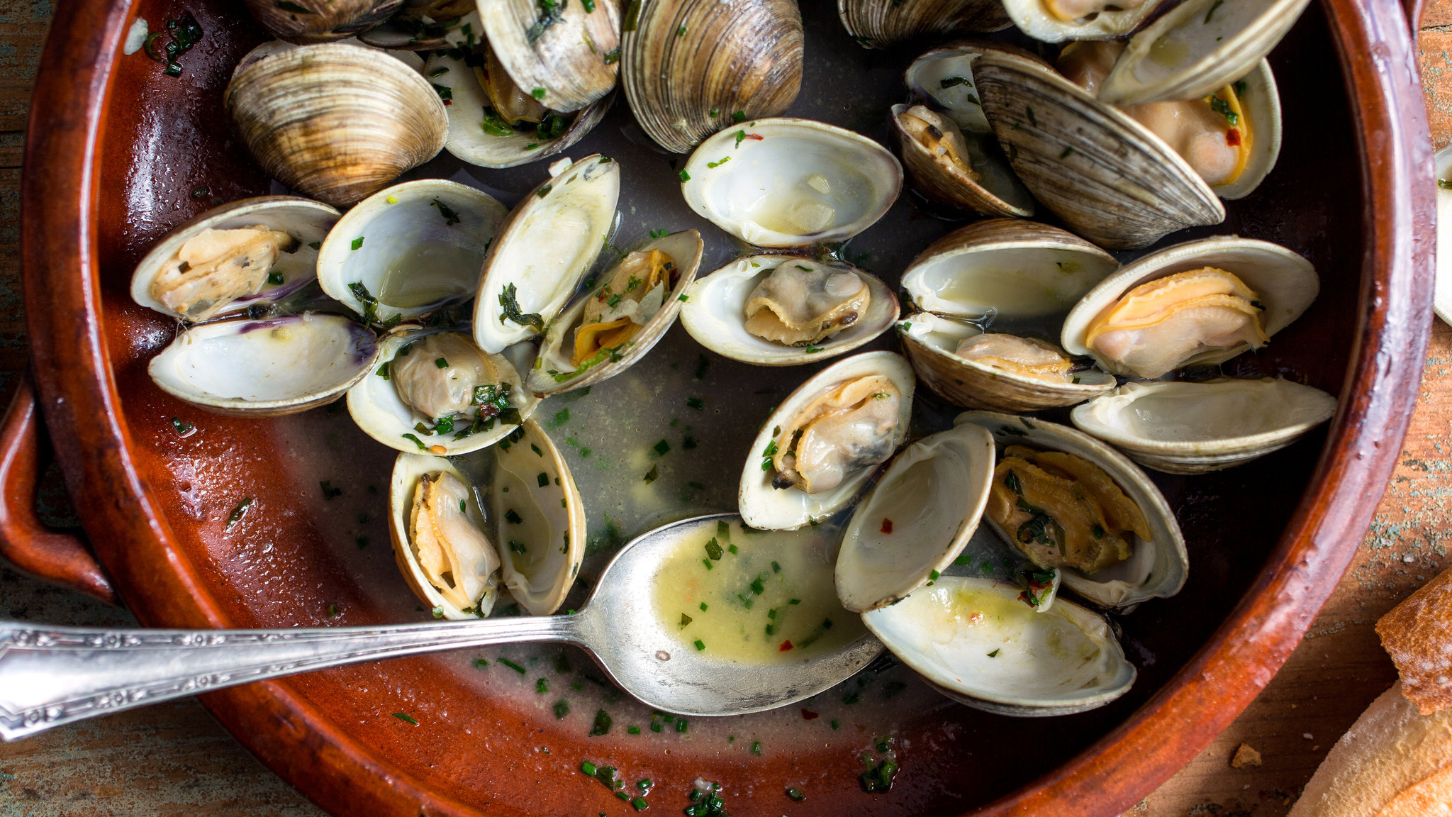 Steamed Clams With Spring Herbs Recipe.