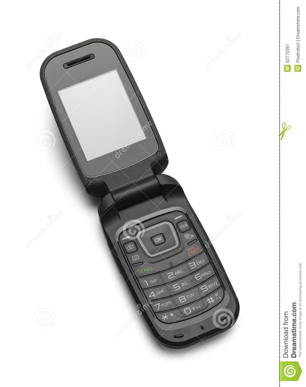 Flip phone clipart black and white.