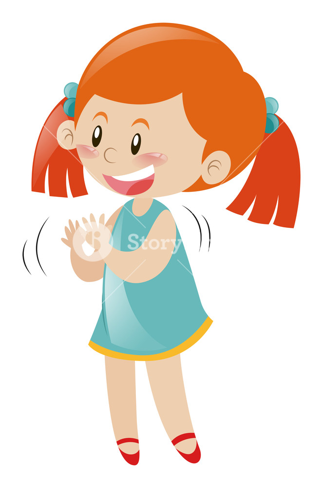 Little girl in blue dress clapping hands illustration Royalty.