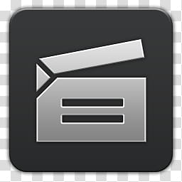 Quadrates Extended, clap board icon transparent background.