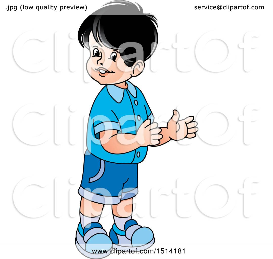 Clipart of a Boy Clapping.