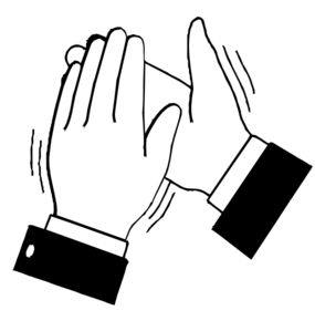 Black & White Clapping Hands PNG, SVG Clip art for Web.