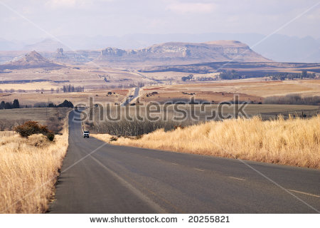 The Road Between Ficksburg And Clarens In South Africa Runs.