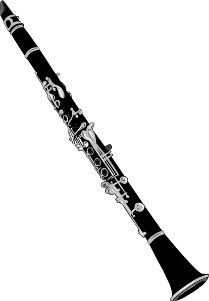 Clarinet Black And White Clipart.
