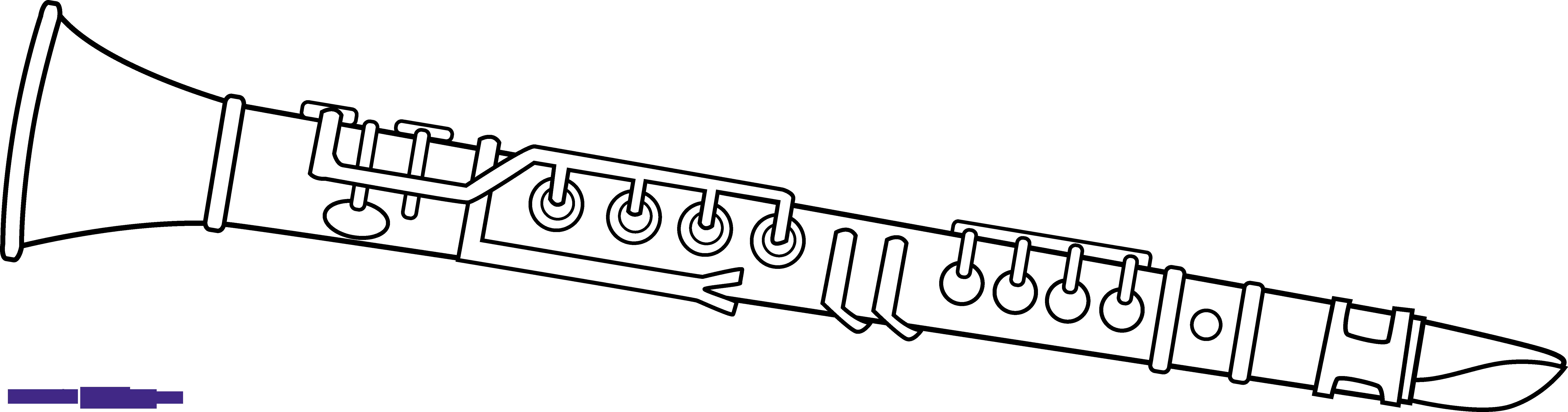 Clarinet Line Art Clipart.