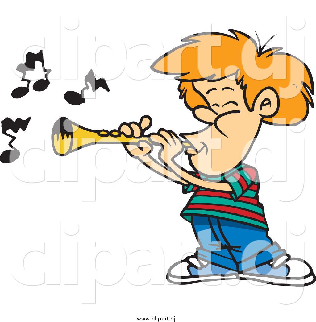 Cartoon Vector Clipart of a Cartoon White Boy Playing a.