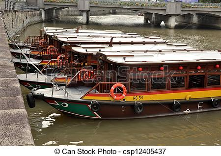 Stock Photos of Parked boats Clarke Quay Singapore.