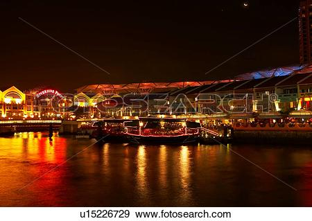 Stock Photograph of Riverside Point restaurants and cafes along.