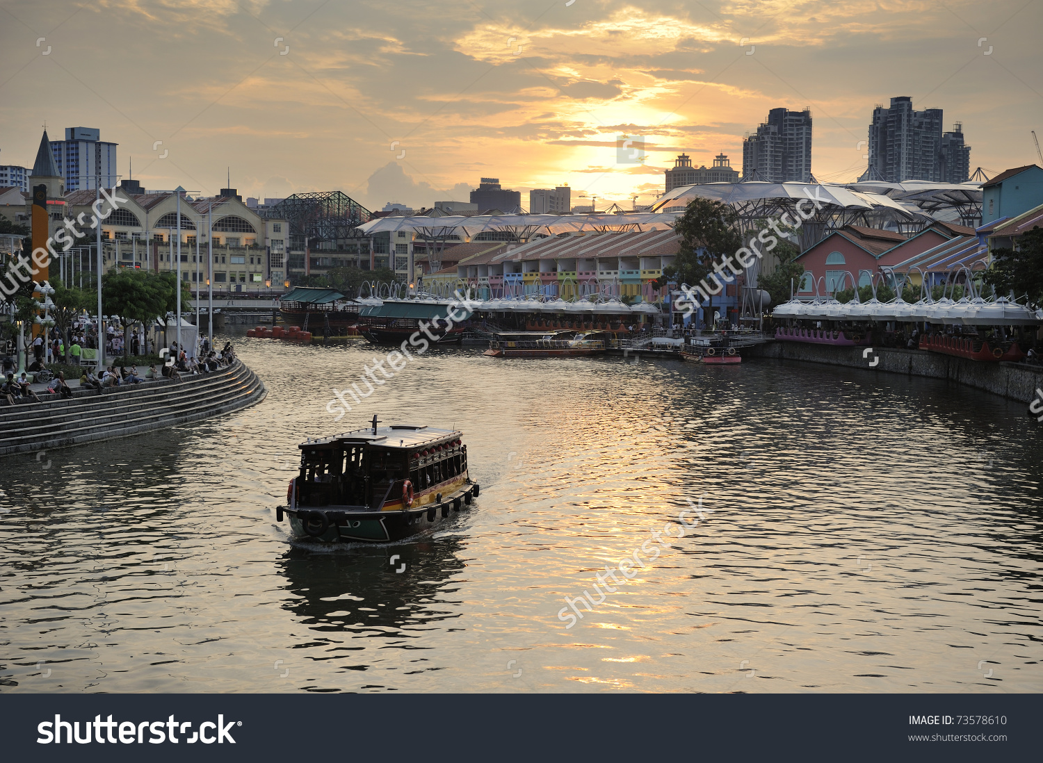 Colorful Historic Houses By Singapore River At Clarke Quay Stock.
