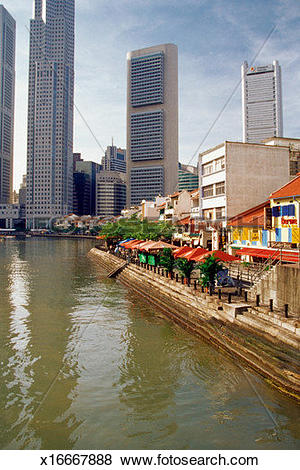 Pictures of High angle view of the Clarke Quay, Singapore River.