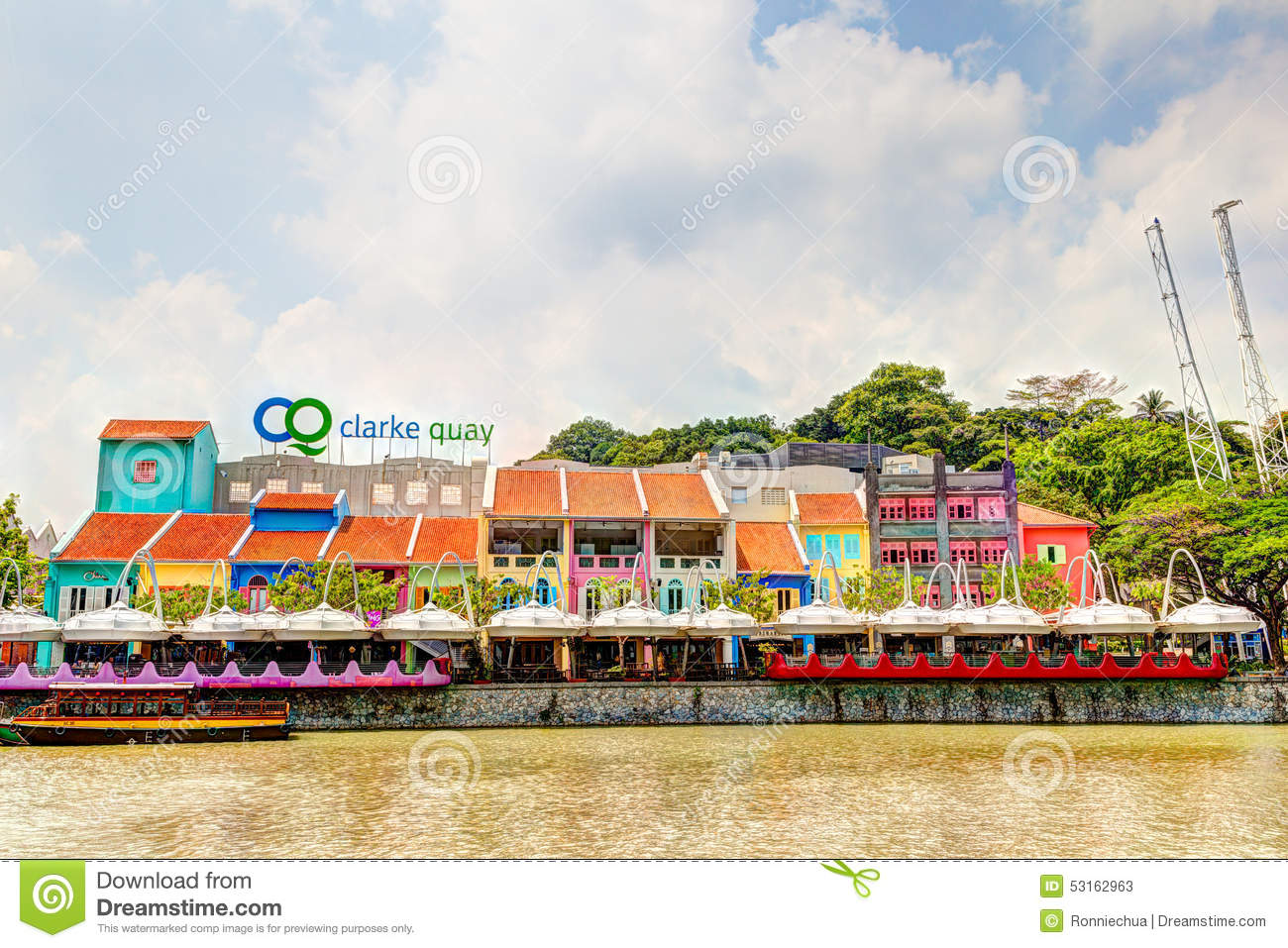 Clarke Quay On The Singapore River Editorial Stock Photo.