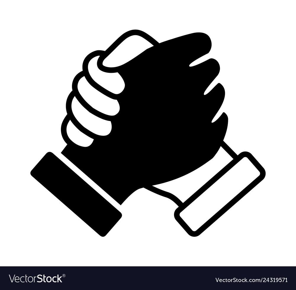 Hand clasp handshake or hand shake icon.