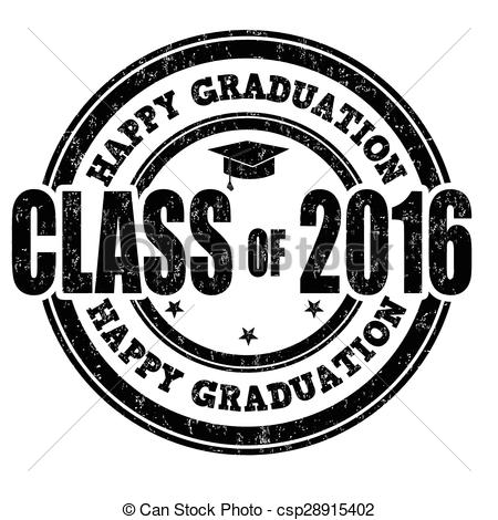 Vector Clipart of Class of 2016 stamp.