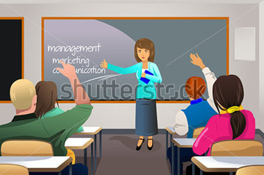 College Classroom Discussion Clipart.