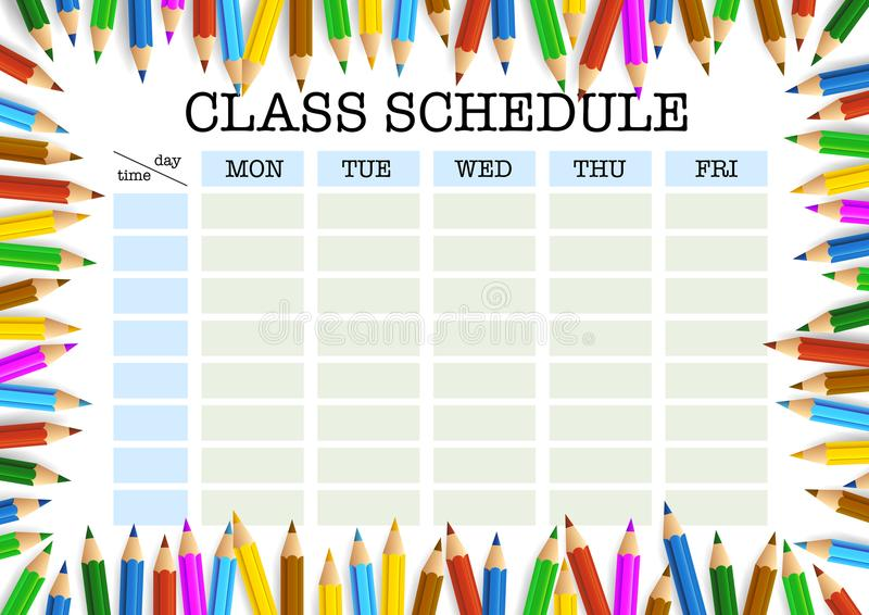 Class Schedule Stock Illustrations.