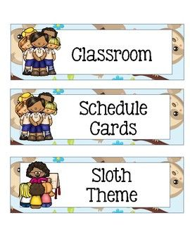 Class Schedule Cards with Sloth Theme.