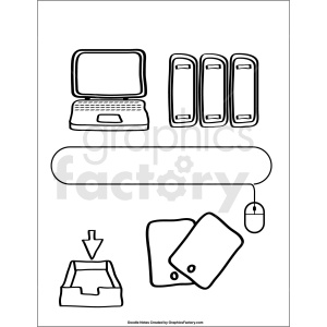 doodle notes printable page for computer class clipart. Royalty.