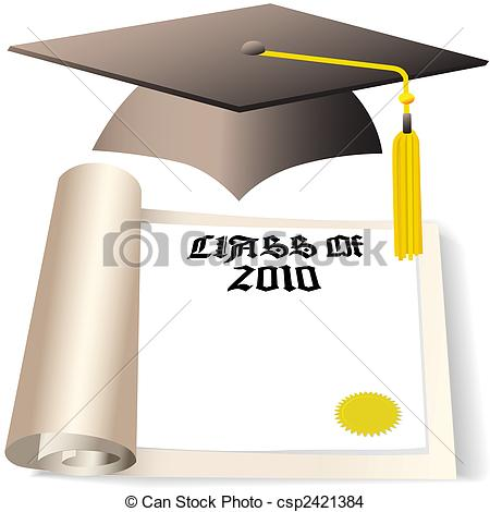 EPS Vector of graduation cap and diploma copyspace for class of.