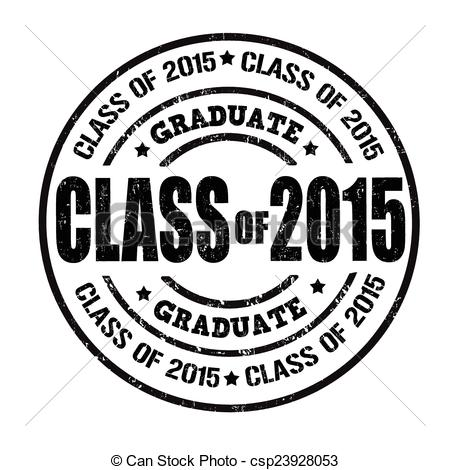 Clipart Vector of Class of 2015 stamp.