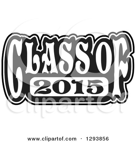 Clipart of a Black and White Class of 2015 High School Graduation.