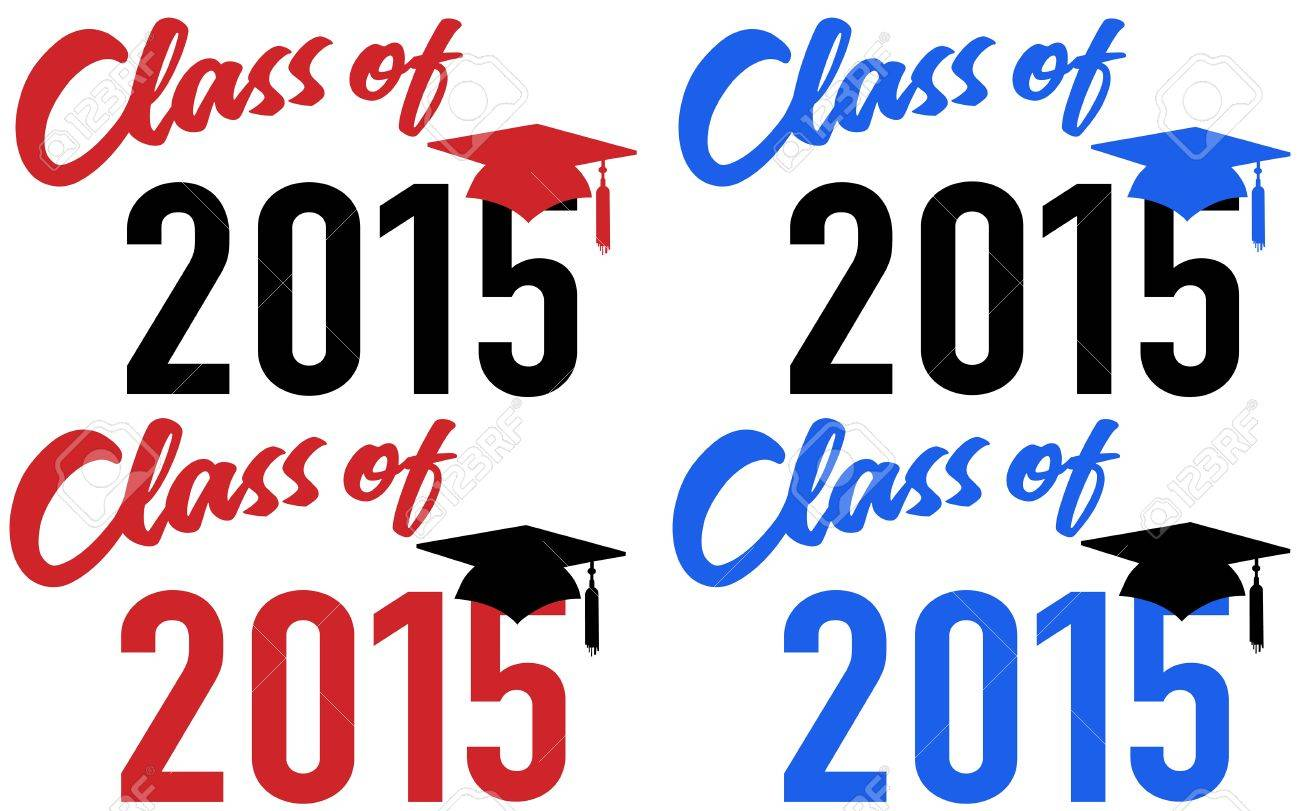 Class of 2015 graduation celebration announcement caps in red...