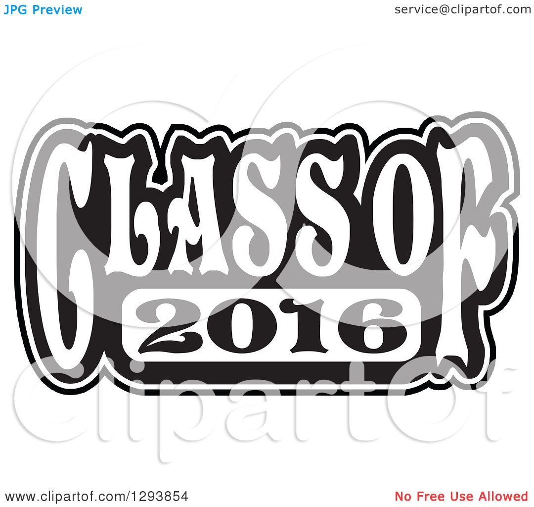 Clipart of a Black and White Class of 2016 High School Graduation.