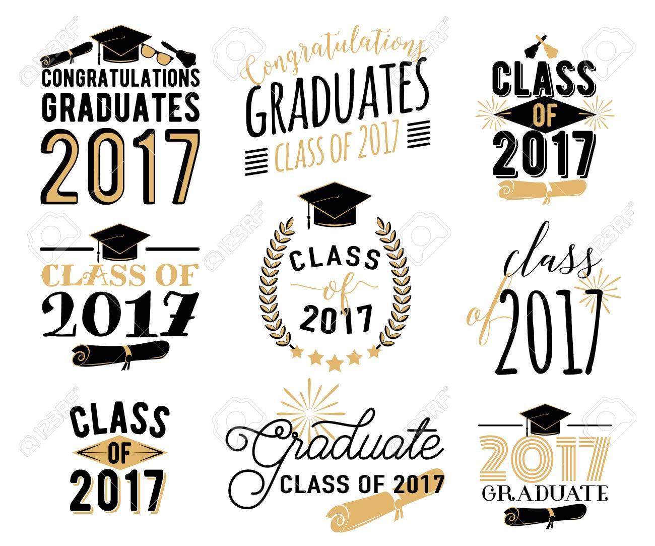 Graduation wishes overlays, labels set. Retro graduate class...