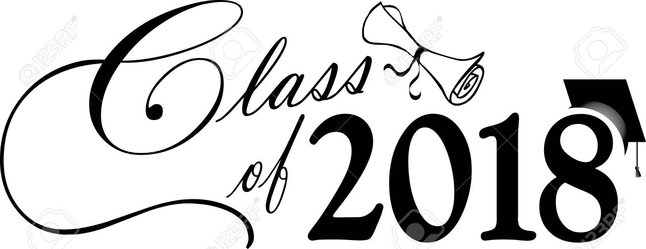 Black and White Class of 2018 Banner with diploma and cap.