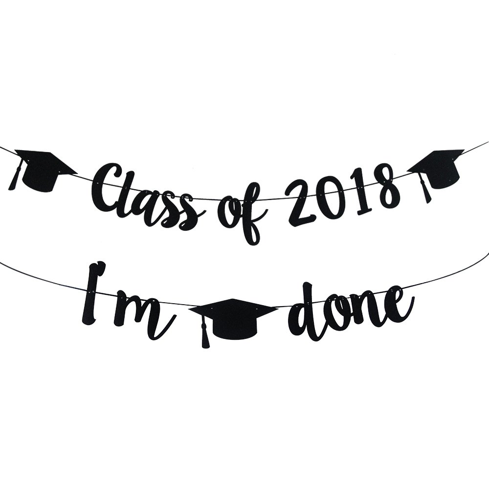 2018 Congrats Signs Graduation Party Decorations Class 2018, IM Done Banner  Sign Congratulations Bunting Garland 2018 Graduation Party Decoration.